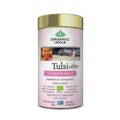 Ceai Tulsi (Busuioc Sfant) Trandafir Dulce | Antistres & Fermecator, 100g