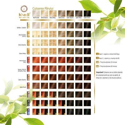 Henna naturala (Rosu) - vopsea de par naturala Khadi, 100gr