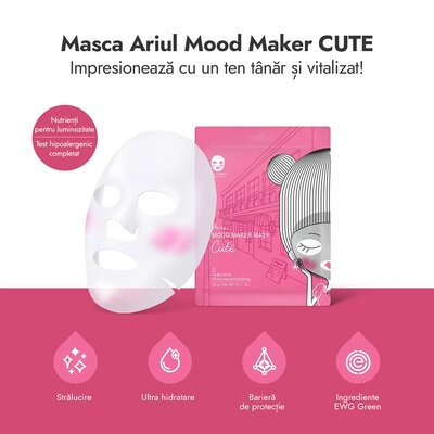 Masca mood maker cute, hidratare si luminozitate, 20g, Ariul