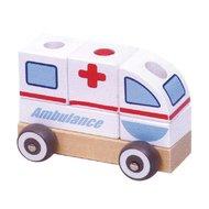 Masinuta Ambulanta din lemn, sistem modular, Multicolora