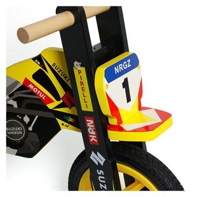 Motocicleta din lemn fara pedale cu roti gonflabile si inaltime reglabila