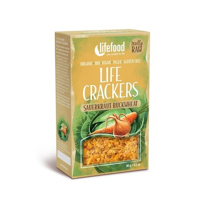 Lifecrackers cu varza murata si hrisca raw bio 90g Lifefood