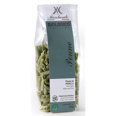 Penne din mazare verde fara gluten, bio, 250g Marchesato