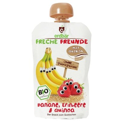 Piure de banane, capsuni si quinoa bio 100g Erdbar PROMO