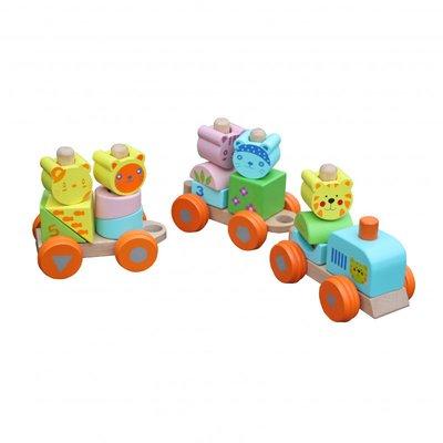 Trenulet educativ din lemn cu cuburi, modular, Multicolor