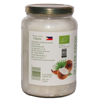 Ulei de cocos virgin raw bio 1400g / 1521ml 1 + 1 GRATIS