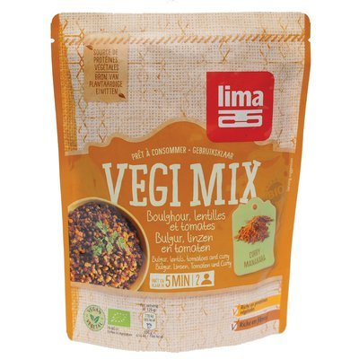 Vegi mix curry, bulgur si linte bio 250g Lima
