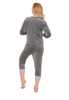 Pijama cu pantalon 3/4 velur, gri