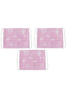 Masca reutilizabila, set 3 buc, fete, 5-10 ani, roz