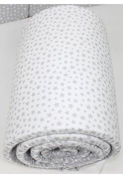 Aparatoare laterala patut, doua fete, gri cu stelute albe, 180 x 30 cm