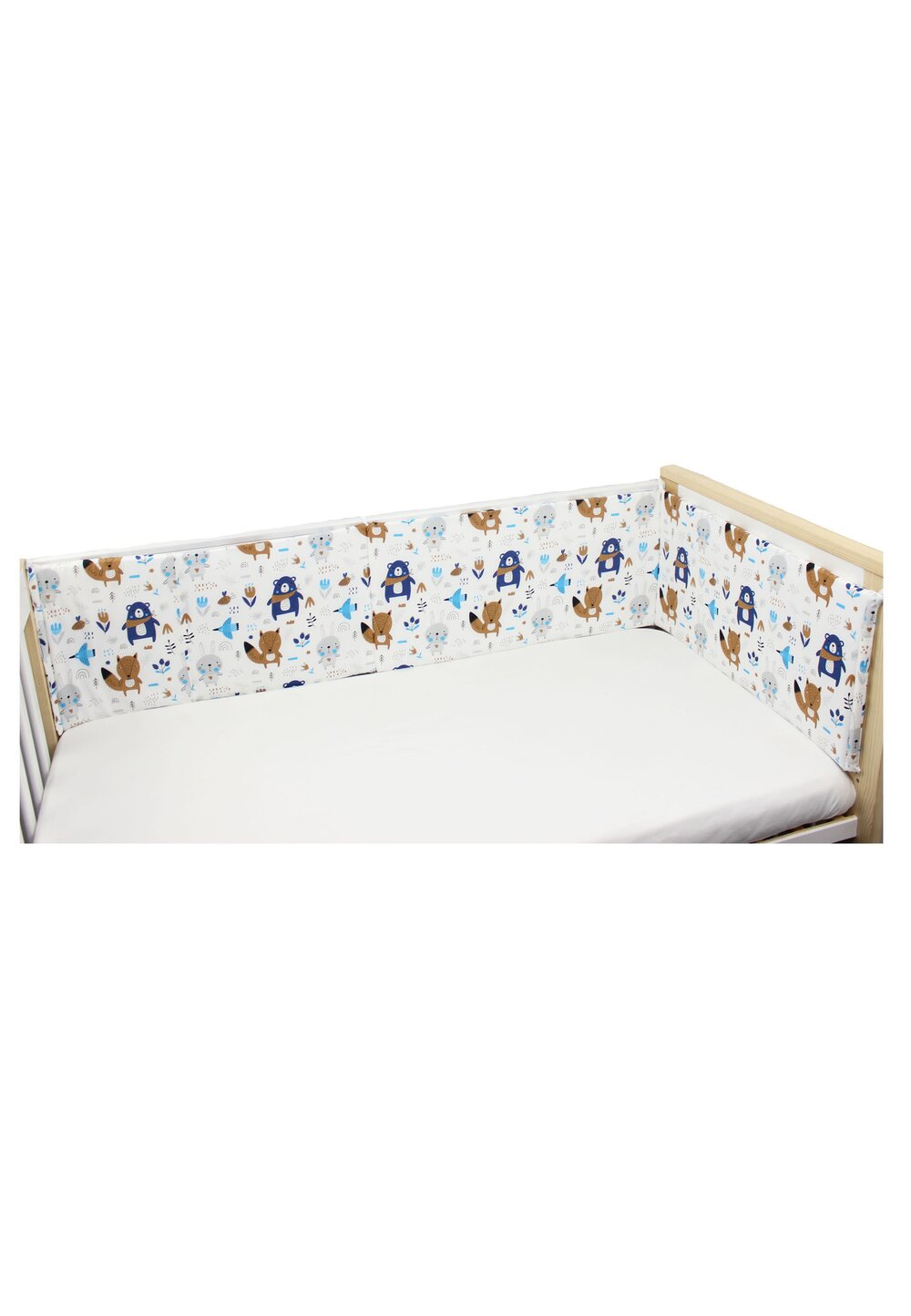 Aparatoare laterala patut, Ursuletul cu esarfa, albastru, 180 x 30 cm imagine