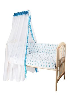 Baldachin alb cu coronite turcoaz