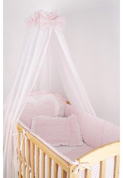 Baldachin patut, alb cu buline roz, 300x160 cm