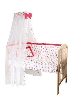Baldachin patut, alb cu coronite roz inchis, 300 x 160 cm