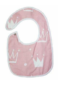 Baveta bebe, coronite, roz, 0-6 luni