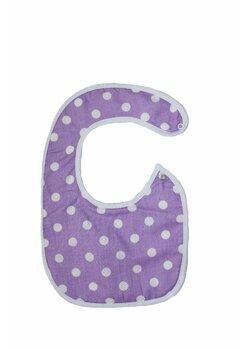 Baveta bebe, mov cu buline albe, 0-6 luni