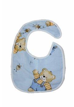 Baveta bebe, ursulet cu albinute albastre, 0-6 luni