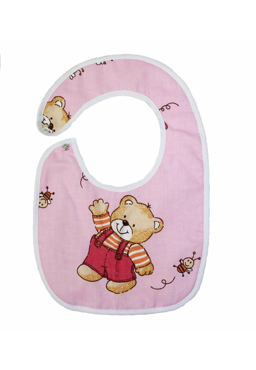 Baveta bebe, ursulet cu albinute, roz, 0-6 luni imagine