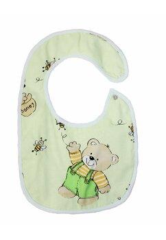 Baveta bebe, ursulet cu albinute, verzi, 0-6 luni