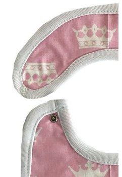 Baveta, roz, coronite albe, 0-6 luni
