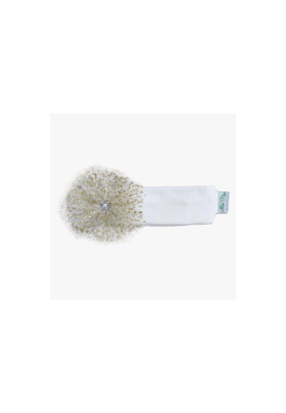 Bentita, alba cu floricica si sclipici imagine