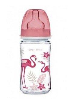 Biberon Canpol, anti-colici, roz cu flamingo, 240ml, + 3luni