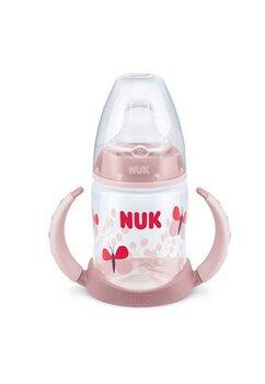 Biberon Nuk cu manere, tetina din silicon, + 6 luni, 150ml, roz cu fluture