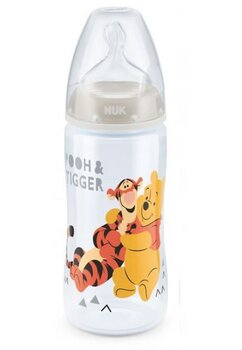 Biberon Nuk, First Choice+, 0-6 luni, 300ml, Winnie si prietenii, gri