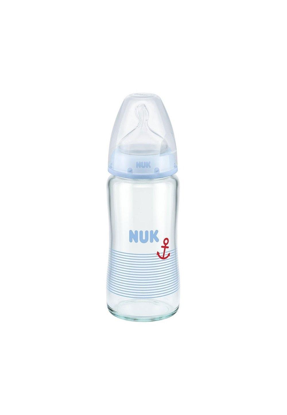 Biberon sticla Nuk, first choice, tetina silicon, 0-6 luni, albastru 240 ml