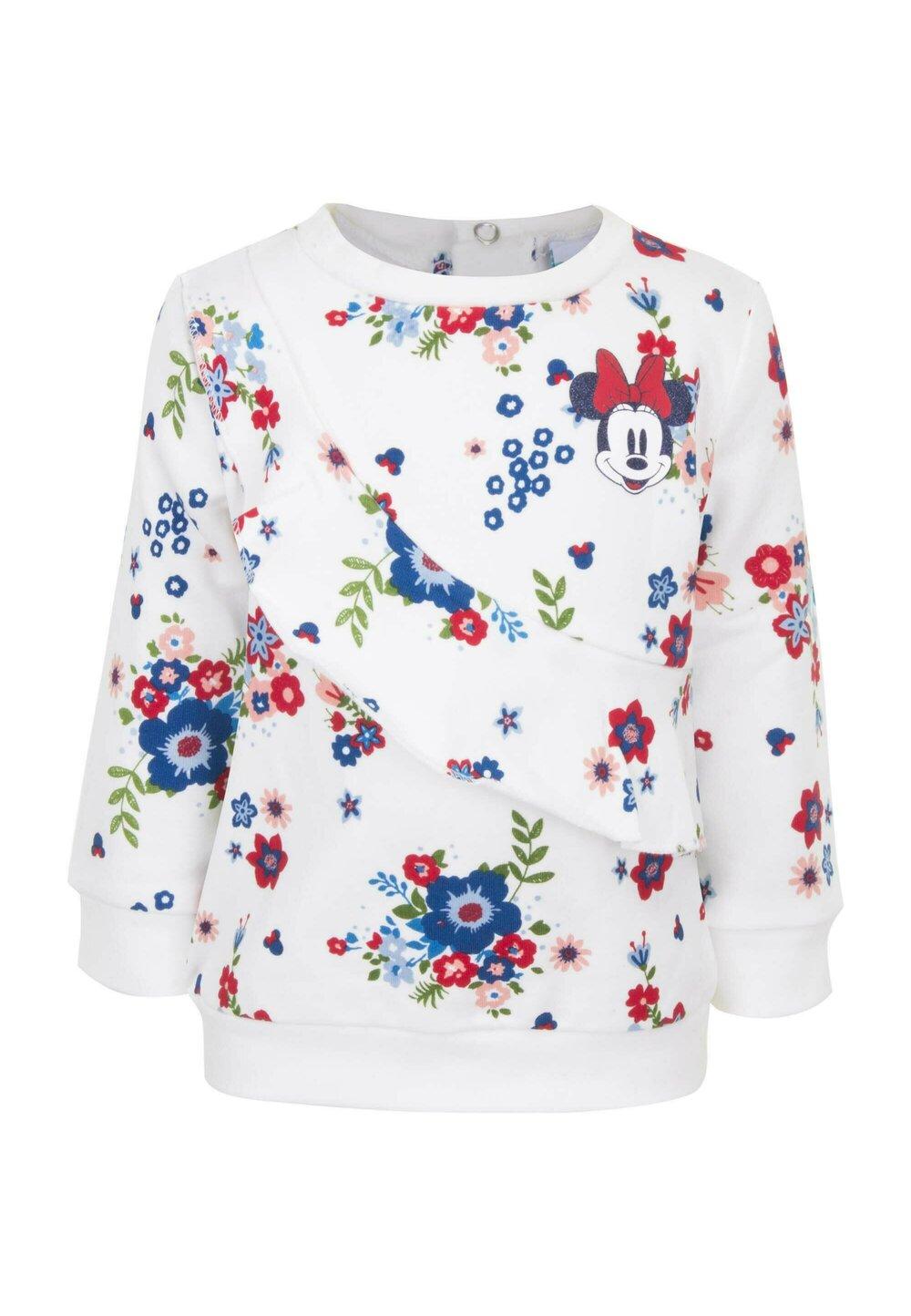 Bluza bebe groasa, Minnie, alba cu floricele imagine