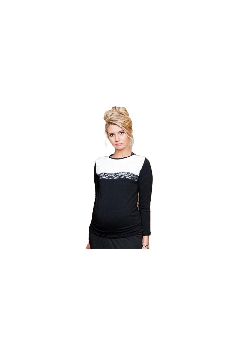 Bluza Ivona, neagra cu dantela imagine