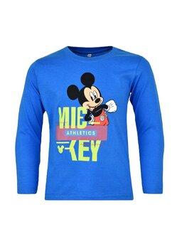 Bluza maneca lunga, bumbac, cu imprimeu, Mickey, albastra