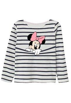 Bluza Minnie Mouse, alba cu dungi negre