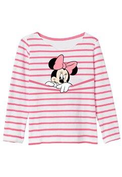 Bluza Minnie Mouse,alba cu dungi roz