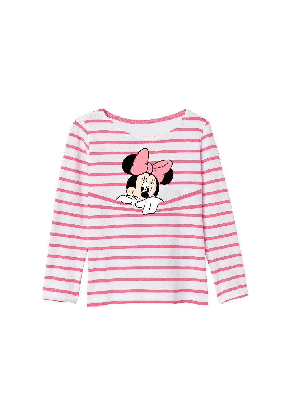 Bluza Minnie Mouse,alba cu dungi roz imagine