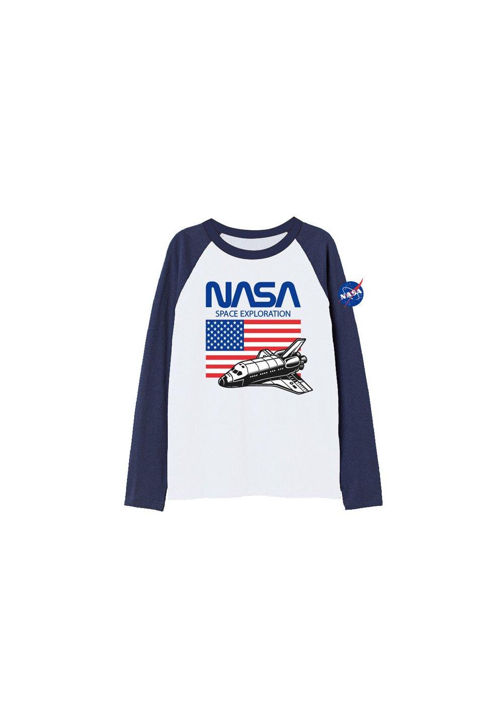 Bluza Nasa Space, alb cu bluemarin imagine