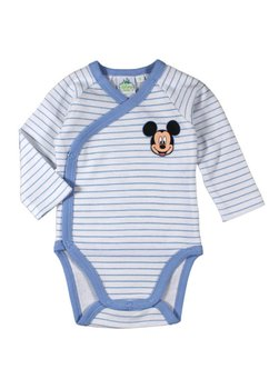 Body maneca lunga, alb cu dungi albastre, Mickey Mouse
