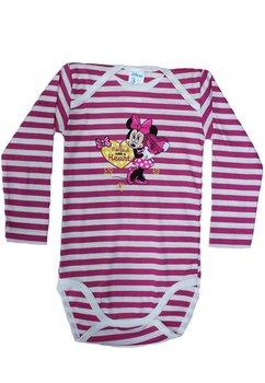 Body maneca lunga, alb cu dungi roz, Minnie Mouse