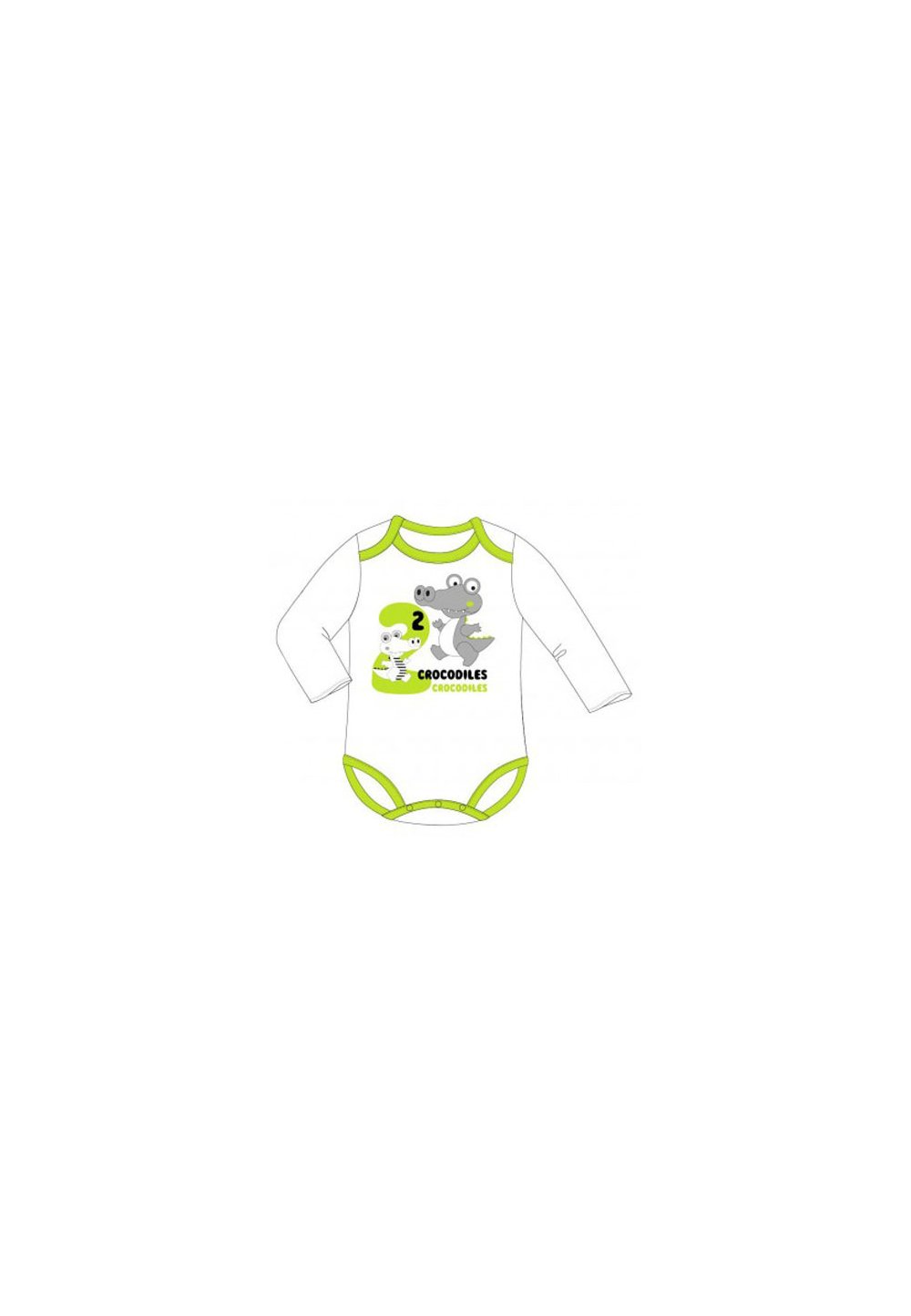 Body maneca lunga, crocodil, alb cu verde