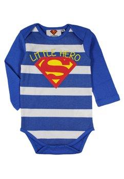 Body maneca lunga, Little hero, albastru cu dungi