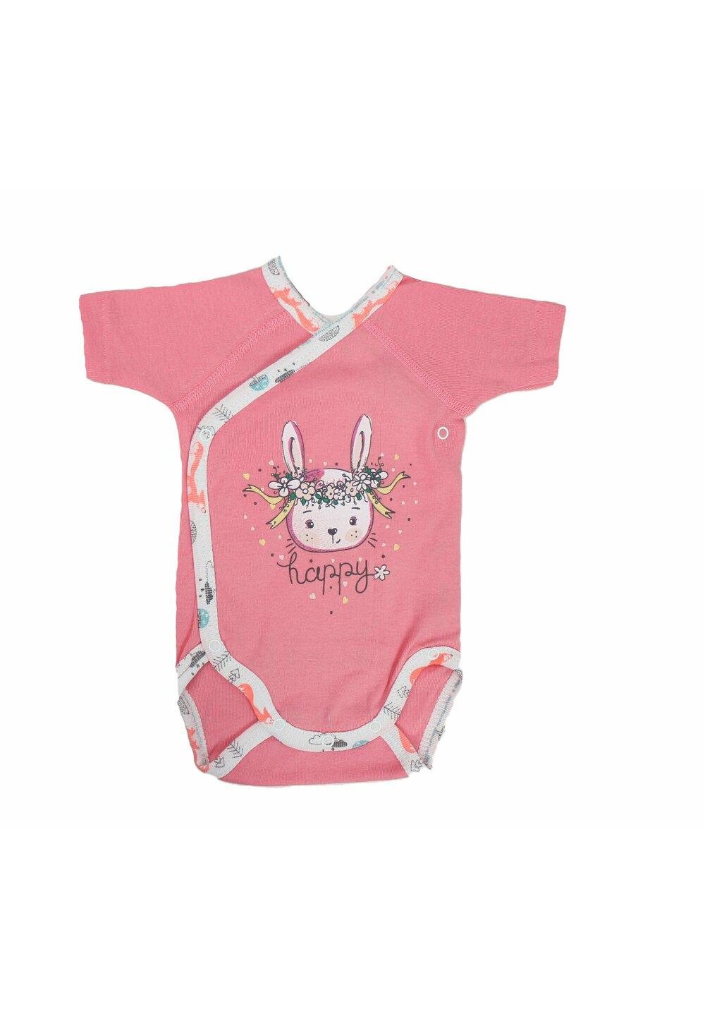 Body maneca scurta, happy bunny, roz imagine