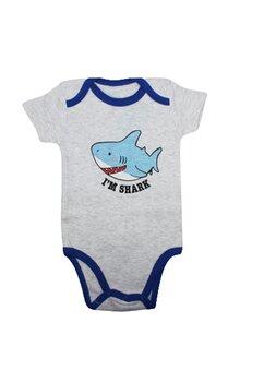 Body maneca scurta, I am Shark, gri