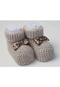Botosei tricotati, maro , 0-6 luni