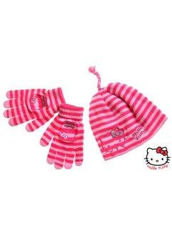 Caciula cu manusi hello kitty roz deschis