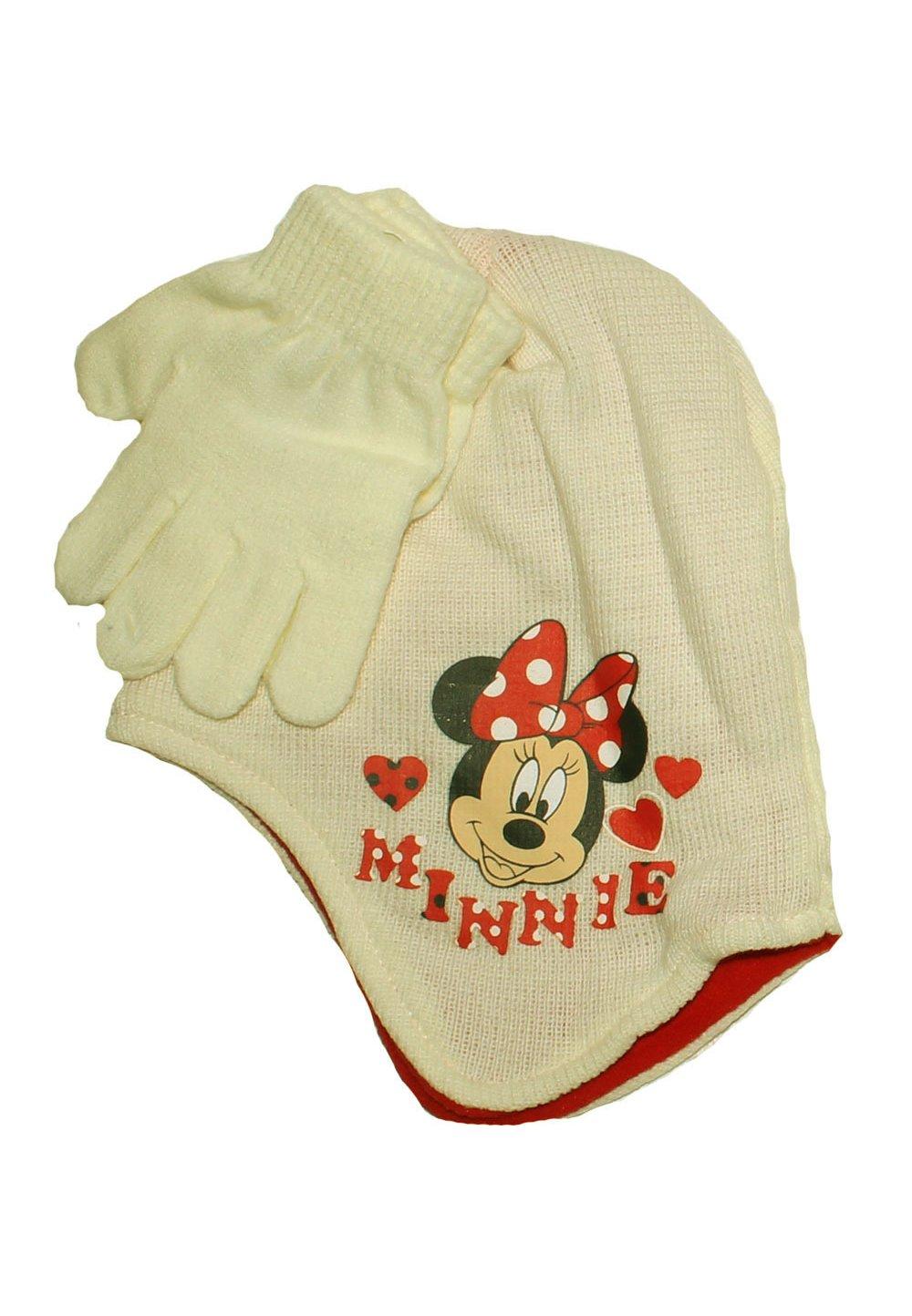 Caciula si manusi, Minnie Mouse, ivory imagine