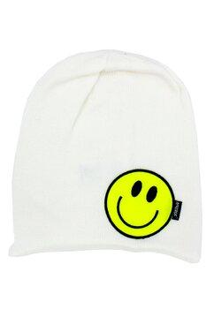 Caciula tip fes, tricotata, acril, Smile, alb