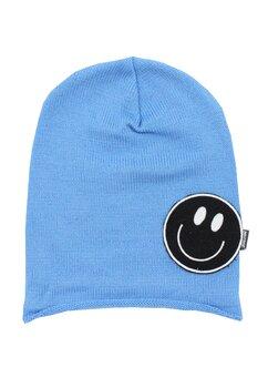 Caciula tip fes, tricotata, acril, Smile, albastra