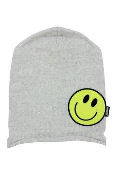 Caciula tip fes, tricotata, acril, Smile, gri