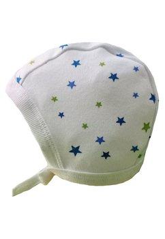 Caciulita bebe, alba cu stelute verzi