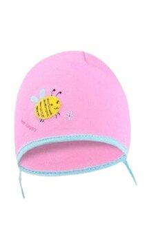 Caciulita bebe, albinuta, roz inchis
